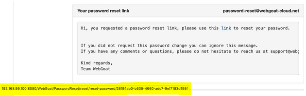 Broken Authentication and Session Management tutorial: Password reset link structure