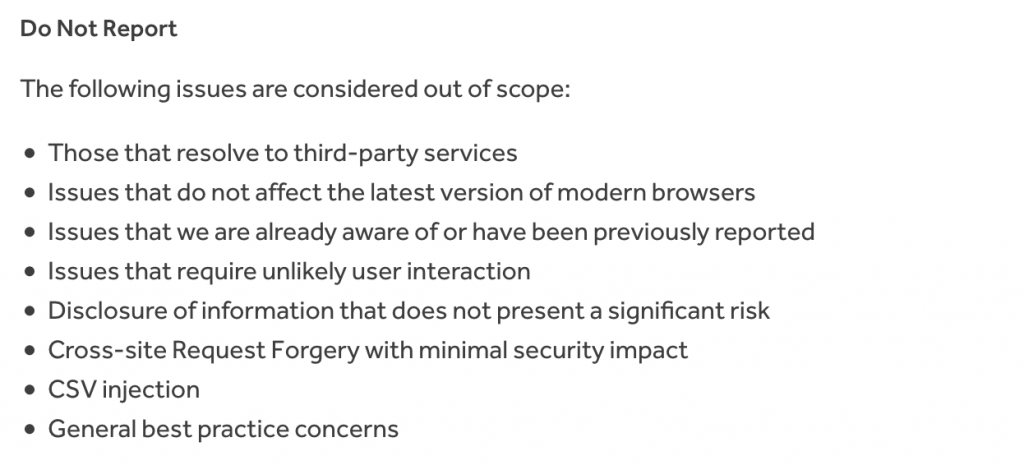 Read the program policy before sending your bug bounty reports. These are out-of-scope vulnerabilities from Verizon media program