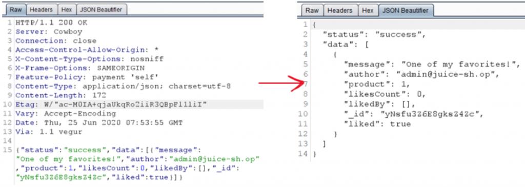 JSON Beautifier burp extension prettifies JSON data