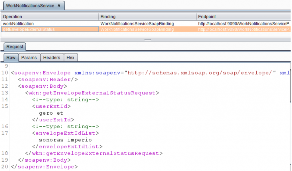 Wsdler Burp extension showing the HTTP request to send