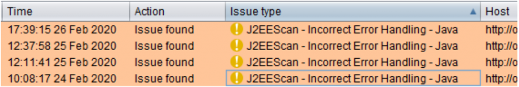 J2EEScan showing a list of issues in Burp Suite issue tracker